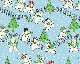 Windham Fabrics.Storybook Christmas. Caroling Snowmen Light Blue - Cotton fabric BTY - Choose your cut
