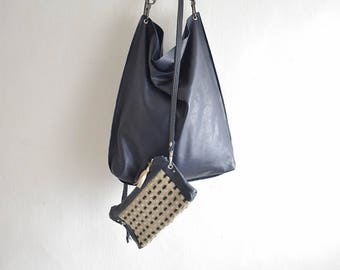 Plain Smooth Leather Hobo Tote in Soft Slouchy Leather - Woven or Plain Strap -  Made to Order