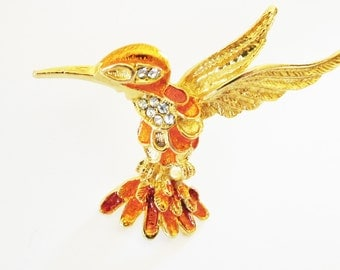 Vintage Hummingbird Brooch Orange Gold Clear Rhinestone Hummer Garden