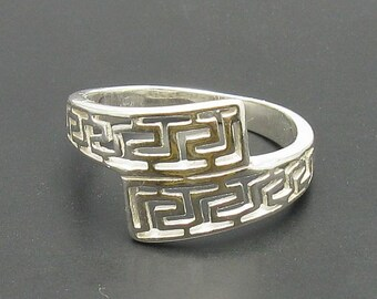 Sterling silver ring meander solid 925 stylish pendant