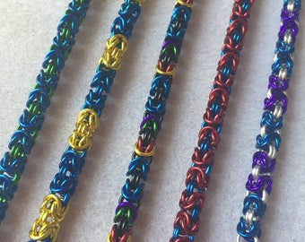 Wellesley College school and class colors Byzantine chainmaille bracelet