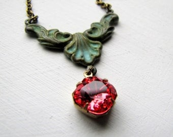 Patina Necklace Victorian Choker Necklace Swarovski Necklace Verdigris Necklace Romantic Vintage Necklace