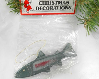 Vintage fish ornament Christmas ornament steelhead salmon trout man cave masculine gift fisherman gift sportsman gift 1987 new old stock