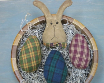 Primitive Easter Bowl Fillers - 1 Bunny Rabbit & 3 Homespun Eggs - Fabric - Spring Decor - Easter Centerpiece with Bunny Head and Eggs
