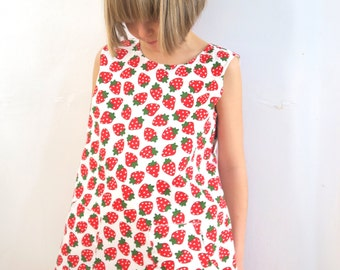 25% OFF Strawberry Fabric Pinafore Dress Age  7-8