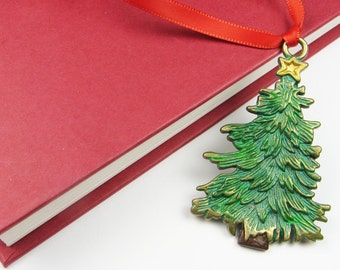 Christmas Tree Ornament - Traditional Hand Painted Brass Green Tree with Gold Star and Red Ribbon for Holiday Decorations