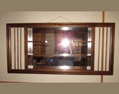 "Midcentury Wood Wall Shelf & Mirror - JD Davis Co - 39"" x 18"" Shadow Box - 1960s"