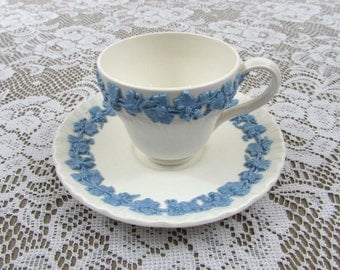 Wedgwood Queensware cup and saucer blue & cream - Etruria Barlaston