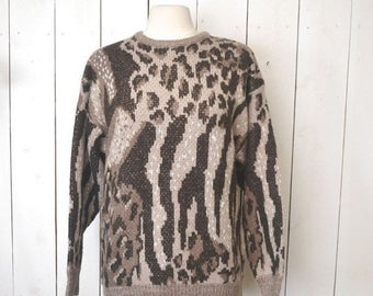 Flash Sale 25% Off Fuzzy Knit Sweater 1980s Brown Tan Animal Print Pullover Sweater Medium Large