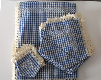 Vintage Cotton Tablecloth - Napkins - Handmade - Hand embroidery - Blue Gingham - New Never used - 50s