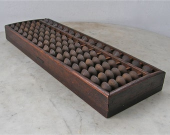 JAPANESE SOROBAN ABACUS Vintage Wooden Counter 15 Rows 1/5 Beads Great Patina Worn Black Characters on Back Japan Early to Mid 1900's