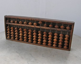 JAPANESE SOROBAN ABACUS Vintage Wooden Counter 13 Rows 1/5 Beads Great Patina Worn Old Nails Black Characters on Back Japan 1900-1940's