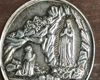 "Our Lady of Lourdes Vintage Silver Religious Medal Pendant by A. LAVEE on 18"" sterling silver rolo chain"