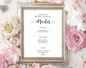 "Editable Menu Sign, Elegant, Modern Design, Printable Template, DIY, Bridal Shower Menu, Wedding Sign, PDF, 8.5""x11"" Editable Printable File"