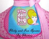 Barbie half apron with 2 pockets
