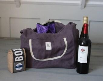 Reusable Grocery Bag, Reusable Shopping Bag, Cotton Tote Bag, Eco-friendly, Linen Market Bag, Farmers Market Shopping, Dusty Purple Linen