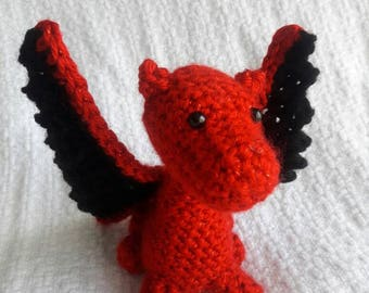 Sparkly Red Baby Dragon Amigurumi Plush