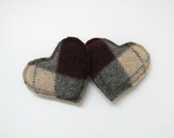 Pocket Hand Warmers Gray Beige and Burgundy Argyle Hearts Felted Wool Rice Hand Warmers