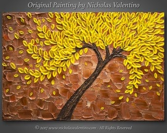 """24""""x36""""x1.5"""" Original Painting - Abstract Yellow Blossom Tree - Palette Knife - Impasto Textured - Stretched Canvas Ready to Hang - FREE S&H"""