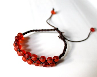 Orange Red Seaglass Braided Leather Bracelet, Friendship Bracelet, Boho, Stackable