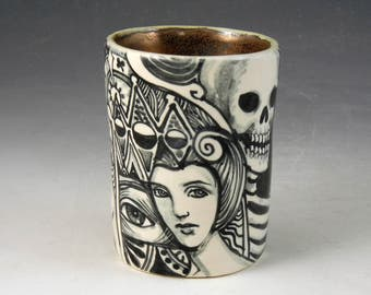 Black and white day of the dead story cup with skeleton, black cat,bird and much more
