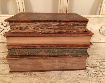 Antique Farmhouse Book Stack from the 1800s - Tattered, Distressed Leather Books - Rustic Leather Books