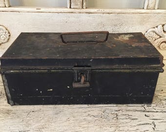 Vintage black cash box with inside coin tray