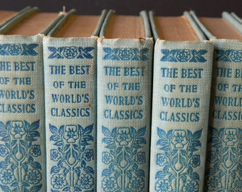 The Best of the World's Classics. Set of Little Blue Antique Books. Cottage Decor. Instant Library.