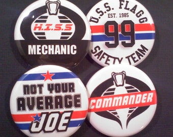 GI Joe Inspired Pinback Buttons OR Magnets, Set of 4