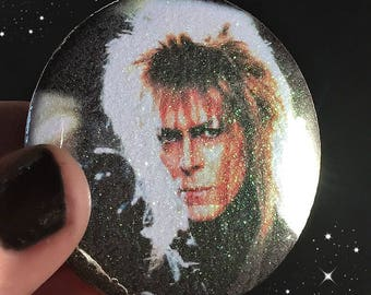 Goblin King Glitter sparkle Button Large Pin Back Button from Labyrinth