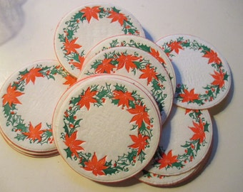 Vintage Paper Christmas Coasters Holiday Party Drinks Coaster Embossed Pointsetta Design Christmas Decor YourFineHouse SHIPSWORLDWIDE