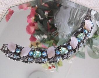 Vintage Florenza Bracelet, AB Rhinestones, Tulip Leaf Design, Silver Tone