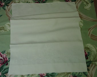 """Vintage Pure Linen Pillowcase with Embroidery and """"C"""" Monogram As Is"""