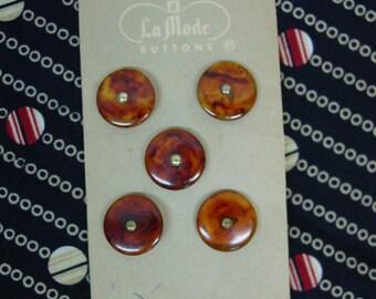 """Vintage Card LaMode Buttons, 5 Bakelite Rootbeer Swirls 9/16"""" Nice"""
