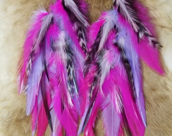 Rooster Saddle Feather and Chain Earrings  - Pink Purple - LONG