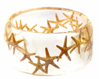 Starfish Bracelet- Starfish Bangle- Star Fish Jewelry- Resin Jewelry- Flower Bangle- Tan Resin Bracelet