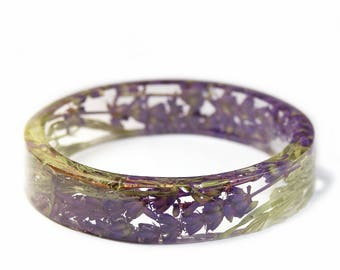 Lavender Bracelet -Purple Bracelet- Purple Flower Jewelry- Resin Jewelry- Flower Bangle- Purple Flower Bracelet- Green Jewelry