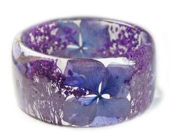 Purple Flower Bracelet -Flower Jewelry- Real Flower Bangle- Real Flower Resin Jewelry - Jewelry made with Flowers-  Flower Bracelet