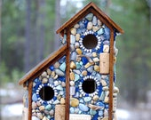 Custom for nornic: Two for one,outdoor,mosaic birdhouse,wine corks,wildlife,nature lover,bird watcher,outdoor bird house,mosaic