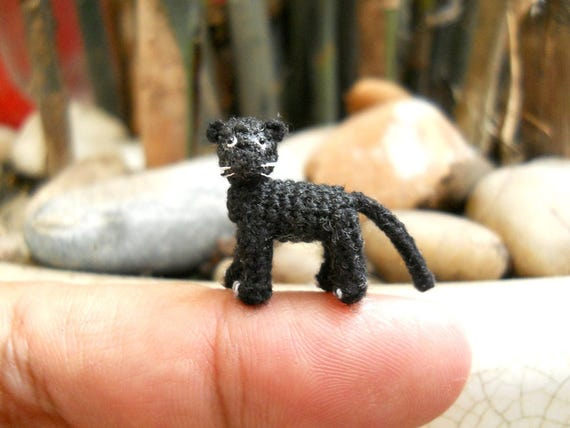 Miniature Black Panther - Micro Crochet Miniature Black Leopard - Made To Order