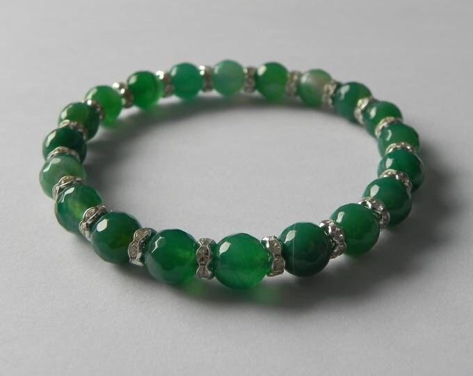 Green banded agate gemstone stretch bracelet with rhinestone rondelles