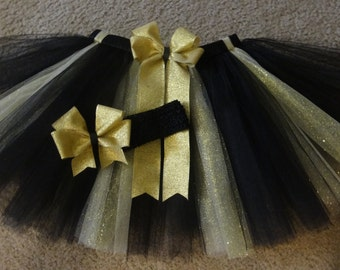 New Year's Eve black and gold tutu set, New Year's tutu custom made in your choice of size up to 4t