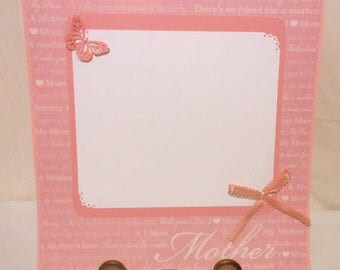 12x12 Mother scrapbook page, Premade single layout, One photo mat, Bow and butterfly embellishments