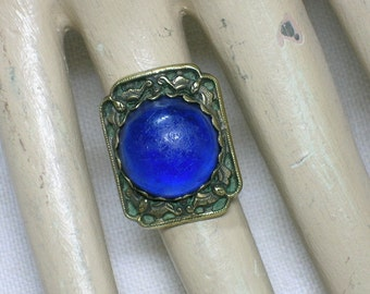 Antique Chinese Ring with Blue Glass Stone. Old Peking Export. Marked Silver, Vermeil. Lucky Bat Motif. Adjustable, Size 5