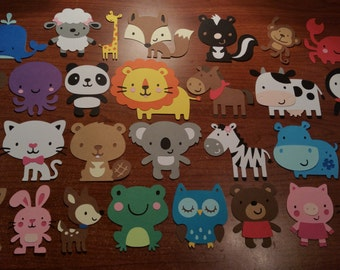 30 Animal Die Cuts - Cupcake Toppers - Scrapbook Album - Party Decor