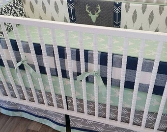 SPRING CLEANING SALE--- Made To Order--Crib Bedding- Boy Baby Bedding- Deer Nursery Bedding- Gray Navy Mint