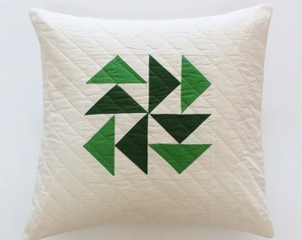 Green Quilted Pillow, Patchwork Pillow