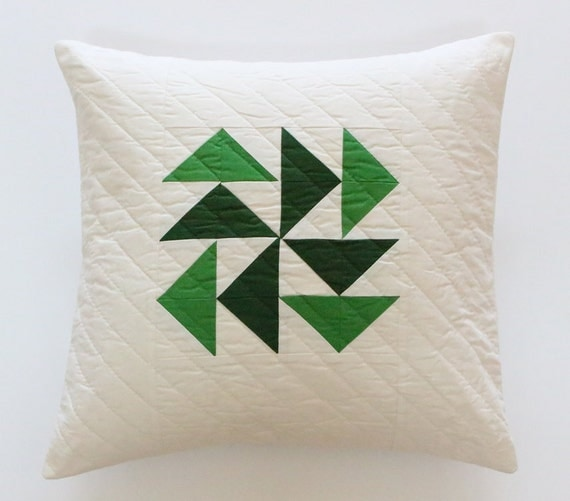 Green Quilted Patchwork Throw Pillow