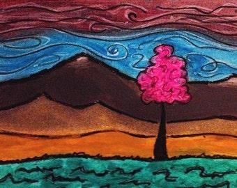 Pink Tree #2 Art Print on Cardstock