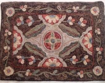 """Rug Hooking Pattern, """"Garden Retreat"""" 20"""" x 28"""", J806, Primitive Floral Design"""